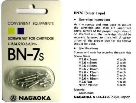Nagaoka BN-7 Cartridge Mounting Fitting Kit