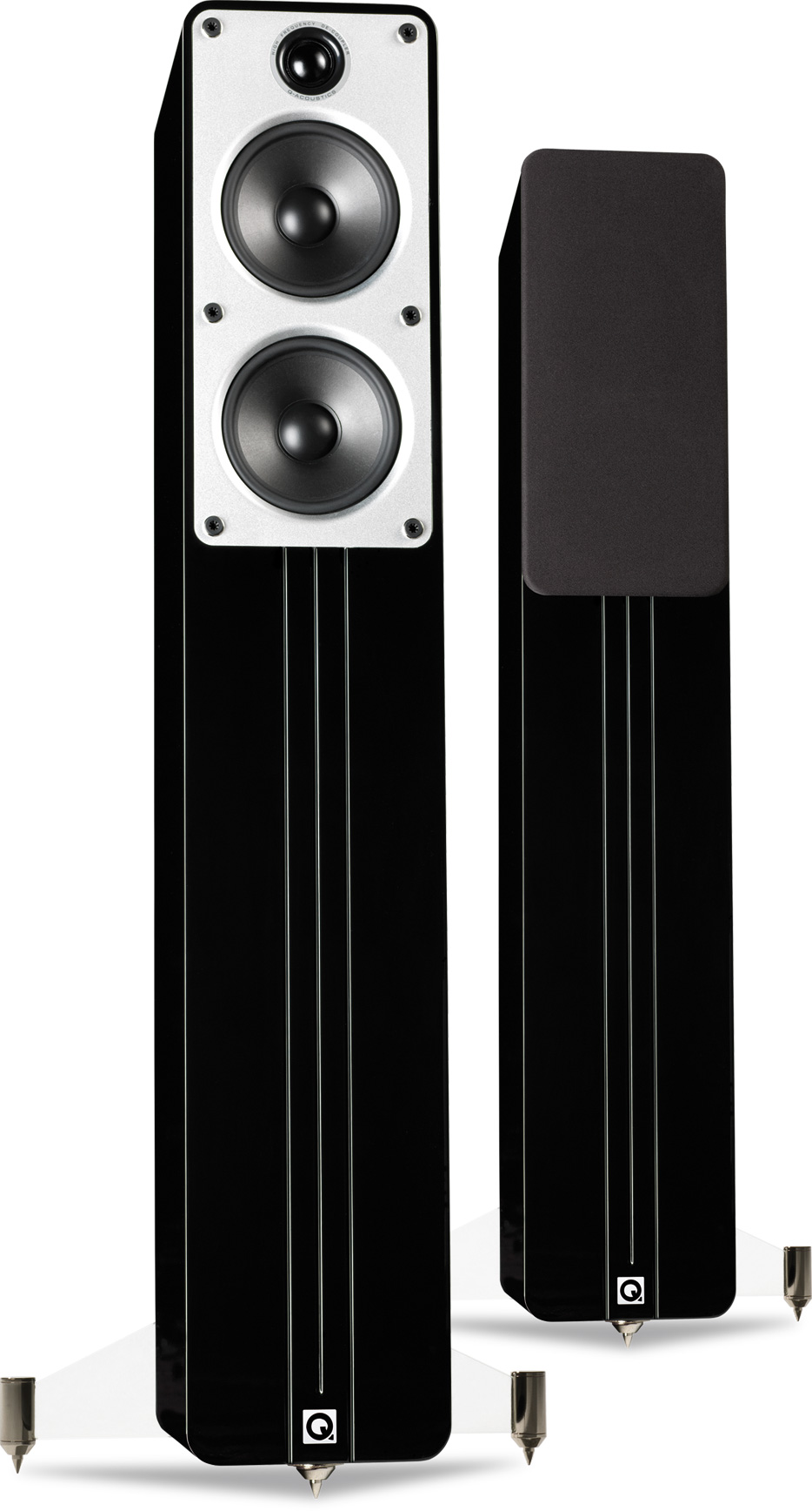 gloss by black saxo pair speakers stand audio standing floor system