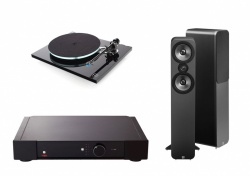 Rega Elex-R Amplifier with Rega Planar 3 Turntable and Q Acoustic 3050 Speakers Package 2