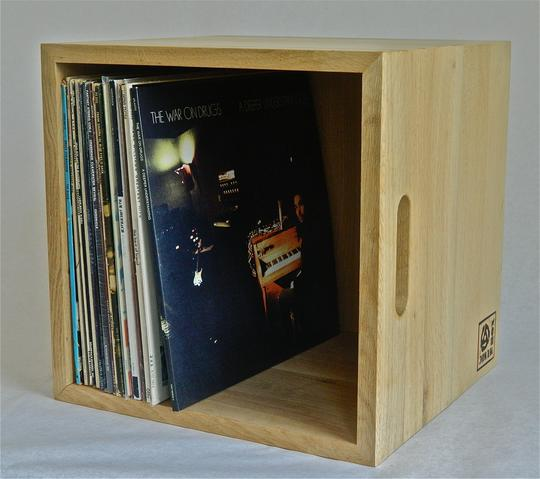 Music Box Design Vinyl Lp Storage Box Natural Oak
