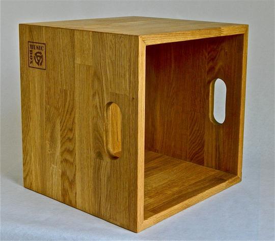 Music Box Design Vinyl Lp Storage Box Oiled Oak